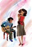 女孩爵士乐唱歌 库存图片