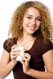 女孩牛奶 免版税图库摄影