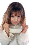 女孩牛奶 库存照片