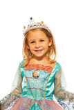 女孩特写镜头公主礼服的有冠的 免版税库存照片