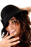女孩特写镜头有帽子的。 库存图片