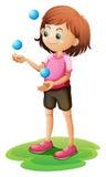 女孩玩杂耍 库存例证