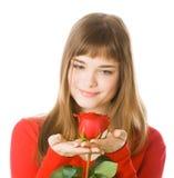 女孩玫瑰年轻人 库存照片