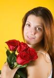 女孩玫瑰 免版税库存图片
