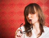 女孩玻璃与 免版税库存图片