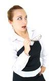 女孩玻璃办公室 免版税库存图片