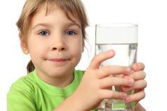 女孩玻璃藏品少许衬衣水 免版税库存照片