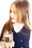 女孩玻璃藏品水 免版税图库摄影