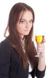 女孩玻璃酒 免版税库存图片