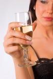 女孩玻璃酒 免版税库存照片