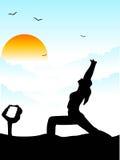 女孩瑜伽 免版税库存照片