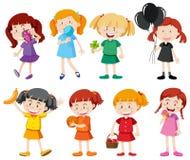 女孩用不同的颜色衬衣 向量例证