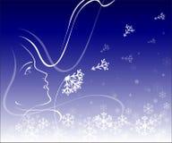 女孩用冬天蒲公英 库存照片