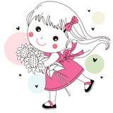 女孩用向日葵 库存图片