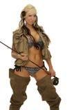 女孩用捕鱼设备 库存图片