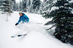 女孩用特别滑雪设备是非常快速地乘坐和跳在山森林里 图库摄影