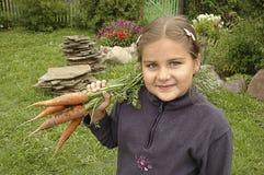 女孩用红萝卜 库存照片