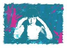 女孩由头受伤 免版税图库摄影