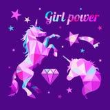 女孩电源女权主义诱导口号 几何低多样式 皇族释放例证