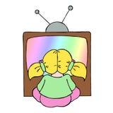 女孩电视注意的年轻人 库存图片