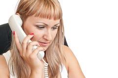 女孩电话微笑的联系的年轻人 免版税库存照片