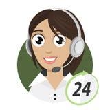 女孩电话接线员,电话中心24 免版税图库摄影