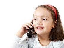 女孩电话联系的年轻人 免版税库存照片
