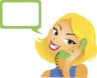 女孩电话联系 免版税库存照片