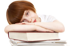 女孩疲乏的年轻人 免版税库存图片