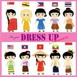 女孩的东南亚国家联盟传统礼服 免版税库存图片