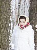 女孩的冬天纵向 图库摄影
