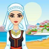 女孩的动画画象希腊衣服的 皇族释放例证