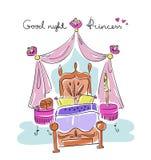 女孩的卧室 公主样式:床,机盖, nightstand,花 免版税库存图片