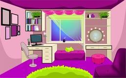 女孩的室室内设计 库存例证