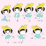 女孩的快乐的运动字符例证 皇族释放例证