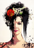 女孩的时髦的超现实的画象 库存图片