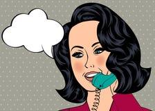 女孩的流行艺术例证有讲话泡影的 免版税库存图片