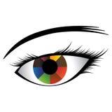 女孩的眼睛的例证与五颜六色的虹膜的 免版税库存图片