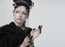 女孩的纵向 创造性的构成 免版税图库摄影