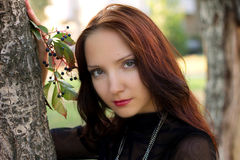 女孩的美丽的秋天纵向 免版税库存图片