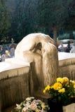 女孩的美好的雕塑坐和哭泣在与花的一个坟墓上的由大理石/石头制成 免版税图库摄影