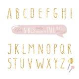 女孩的逗人喜爱的手拉的狭窄的闪烁字体 高发光的字母表 乱画书面浓缩的稀薄的信件 向量例证
