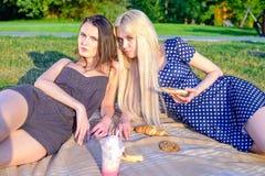女孩的野餐 免版税库存照片