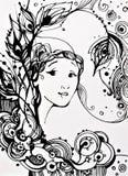 女孩的面孔和花卉设计 向量例证