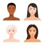 女孩的面孔有另外肤色、头发和眼睛的 欧洲,非洲,拉丁美洲和亚洲 r 库存例证