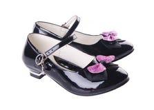 女孩的鞋子背景的 免版税库存图片