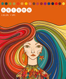 女孩的颜色类型-秋天 秋天女孩 秋天类型的颜色 免版税库存图片
