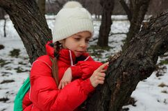 女孩的画象在树附近的 免版税库存图片