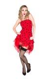 妇女的Pin红色礼服的 库存照片