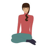 女孩盘着腿瑜伽被隔绝的放松凝思坐白色背景艺术创造性的传染媒介例证 图库摄影